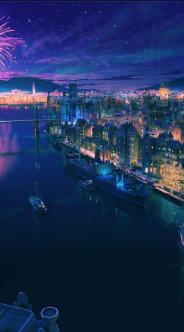 Anime city night wallpaper